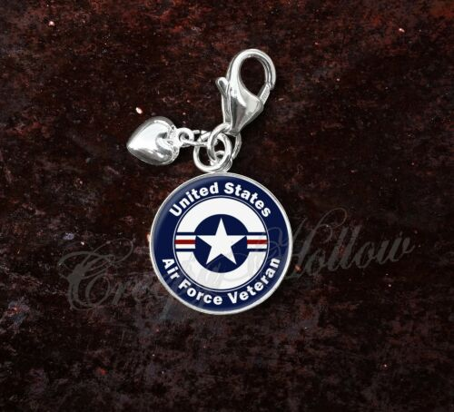 925 Sterling Silver Charm United States Air Force Veteran