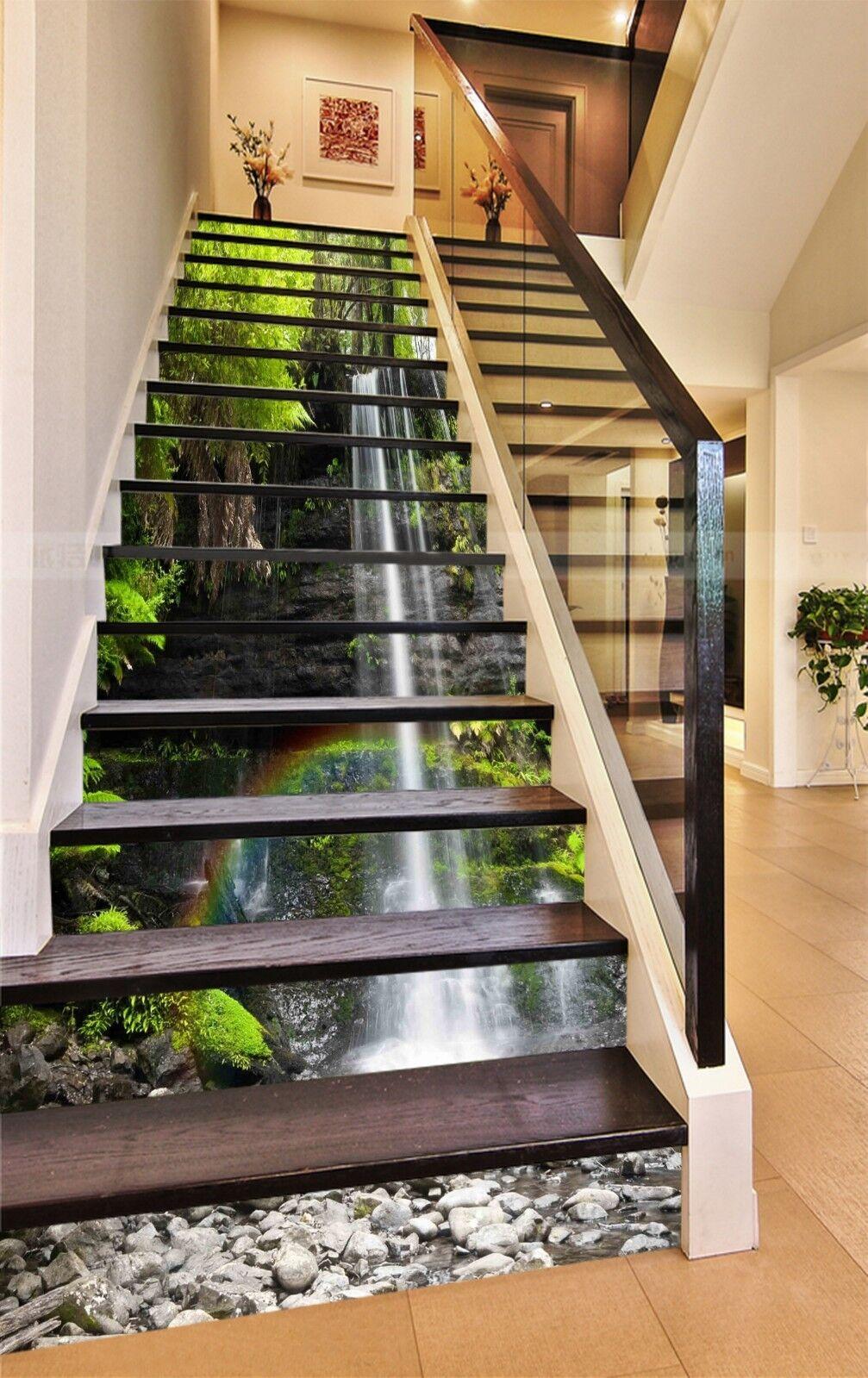 3D Stream Rainbow Stair Risers Decoration Photo Mural Vinyl Decal Wallpaper CA