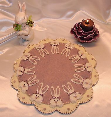 ~*Peek A Boo Bunnies*~Easter/Spring Penny Rug/Candle Mat PATTERN Applique