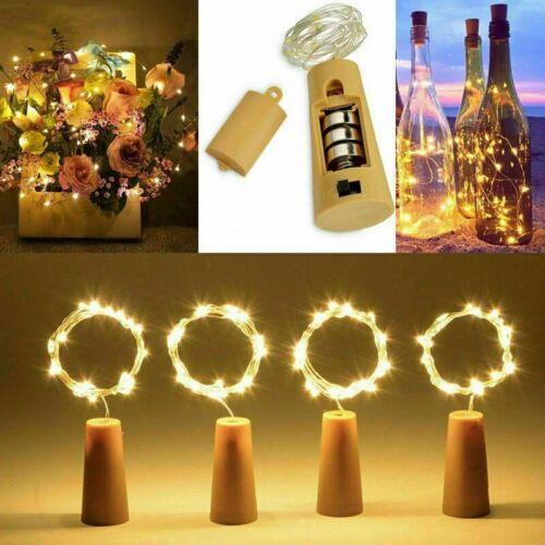 12X 20 LED Weinflasche Kork String Licht Nacht Lichterkette Party Flaschenlicht