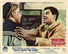 Hand Signed 8x10 JERRY LEWIS Never Too Young photo original Lobby Card + my COA