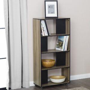 Image Is Loading FITUEYES 4 Shelf Bookcase Modern Storage Bin Cabinet