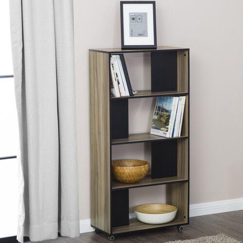 FITUEYES 4-Tier Bookcase Storage Shelves /& Organization Cabinet With Wheels