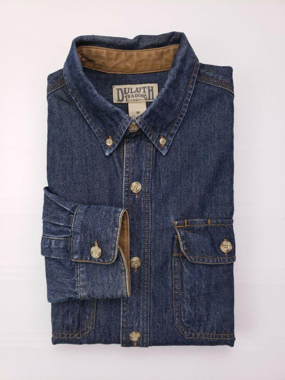 Duluth Trading Company Blu Camicia di Jeans Media Uomo TAGLIA M Cotone