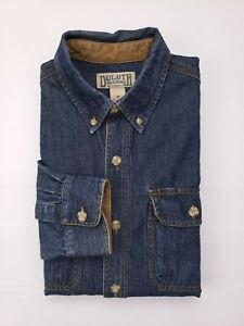 Duluth-Trading-Company-Blue-Denim-Shirt-Medium-Mens-Size-M-Cotton-Dual-Pockets
