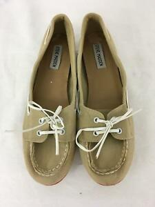 0faa09457e2 Details about Steve Madden Womens Ladies Tan Canvas Slip On Flats Shoes  Size 9.5M