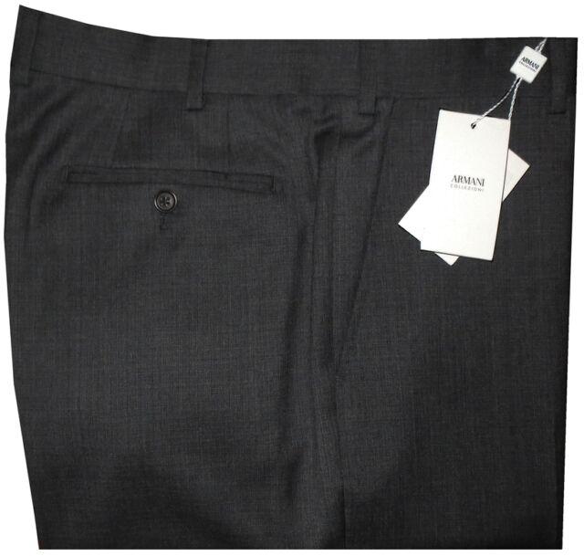 345 Nwt Giorgio Armani Collezioni Heather Charcoal Wool Dress Pants 40