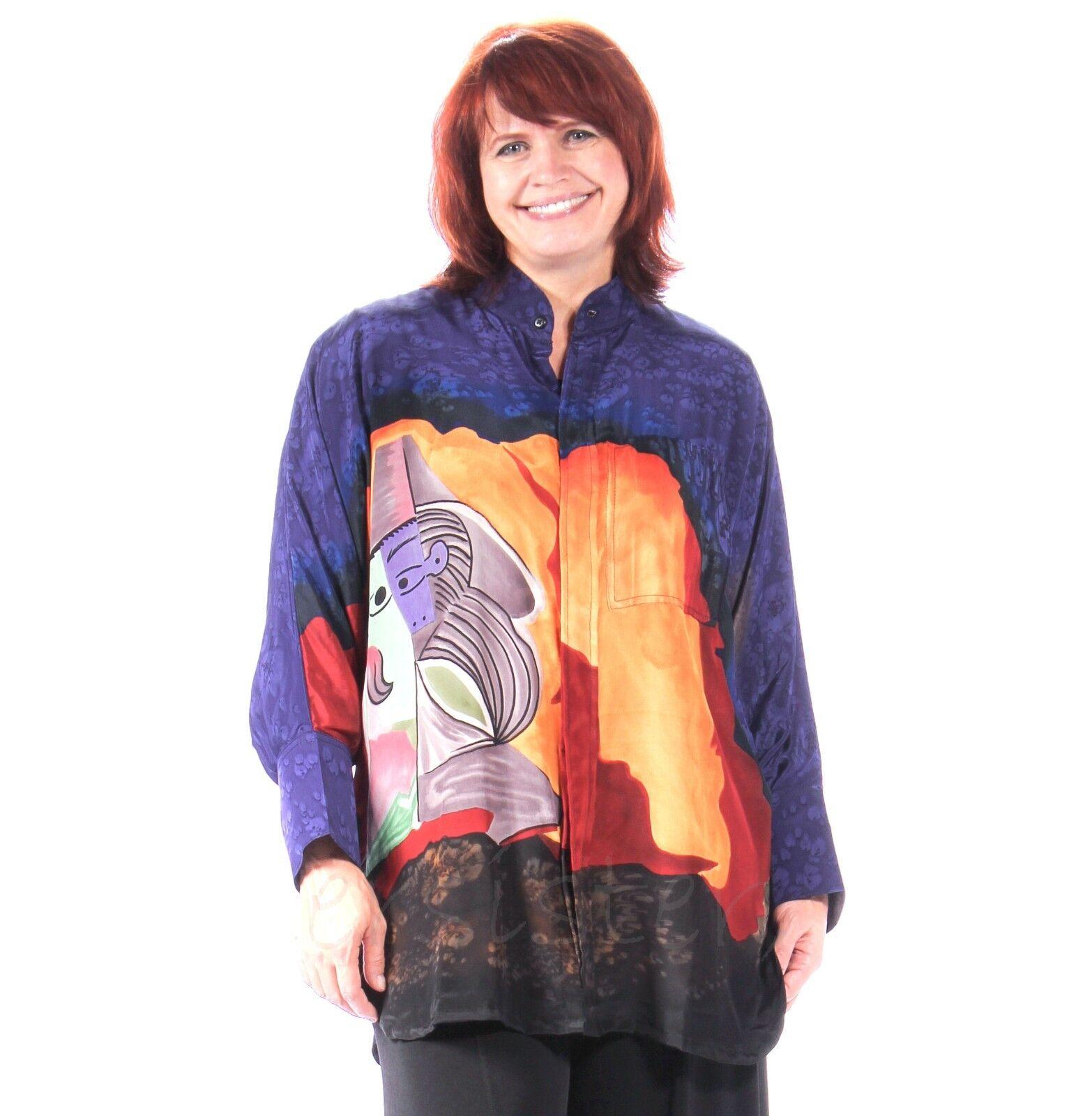 DILEMMA  Hand-Painted SILK Art-to-Wear  782  BIG SHIRT  Long  (2 Größes)  PICASSO
