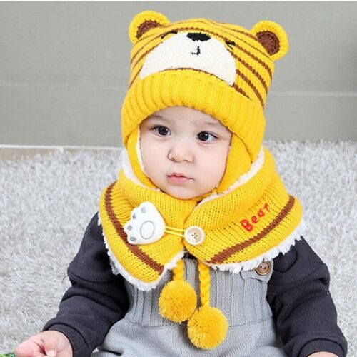 Baby Warm Knit Animal Hat and Scarf Toddler Winter Crochet Beanie Cap Set UK