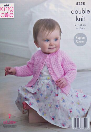 Baby KNITTING PATTERN Baby Easy Knit Textured Cardigans DK King Cole 5258