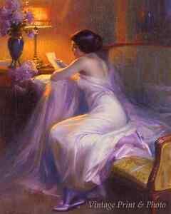 The Letter by Delphin Enjolras Art Woman Read Lamp Lavendar 8x10 Print 0925