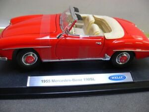 1-18-Welly-Mercedes-Benz-190sl-cabriolet-1955-Rouge-19841cw