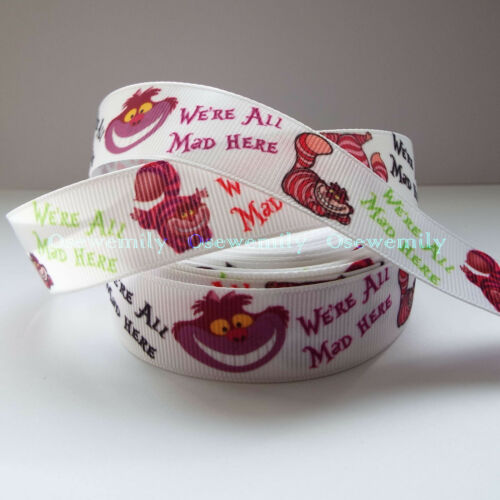 Per Metre Alice in Wonderland Grosgrain ribbon 22//25mm Party Cake// Hair Bows