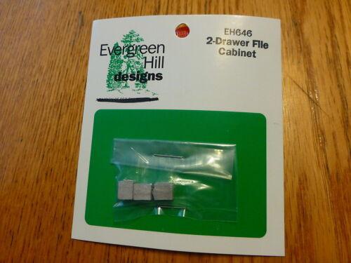 Evergreen Hill HO #646 //2-Drawer File Cabinet Light Cast Metal