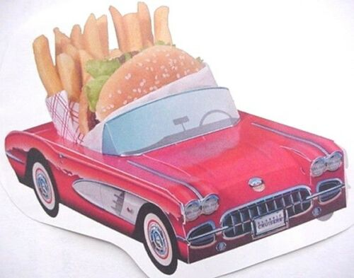 6 ~  PINK 1955 Ford Cardboard Cars  Kids Food Tray Box Party Favor Table Center