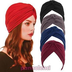 Turbante-donna-cuffia-retro-fascia-bandana-cappello-pieghe-morbido-nuovo-KT1113