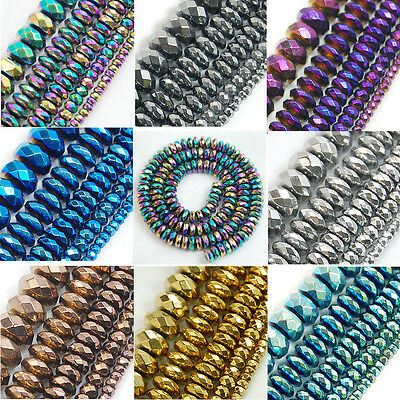 "3mm 4mm 6mm 8mm 10mm Faceted Hematite Gemstone Rondelle Beads 16"""