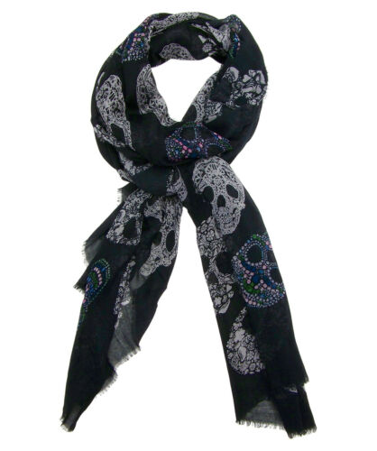 Blue Pacific Frida Cashmere and Silk Scarf with Sugar Skulls in Black