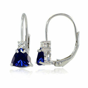 925-Silver-Created-Sapphire-amp-White-Topaz-Trillion-Cut-Leverback-Drop-Earrings