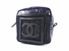 Auth CHANEL CC Logo Sports Line Waist Belt Pouch Bum Bag PVC Navy Black A-4353