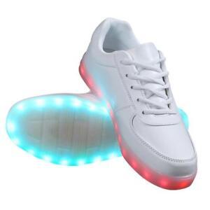 size 40 9a7ed b1b99 Details zu LED Schuhe Licht Sneaker Leuchtende Herren Damen Blinkschuhe  Farbwechsel Weiß