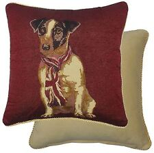 TAPESTRY COTTON VELVET JACK RUSSEL DOG UNION JACK SCARF RED CUSHION COVER 18""