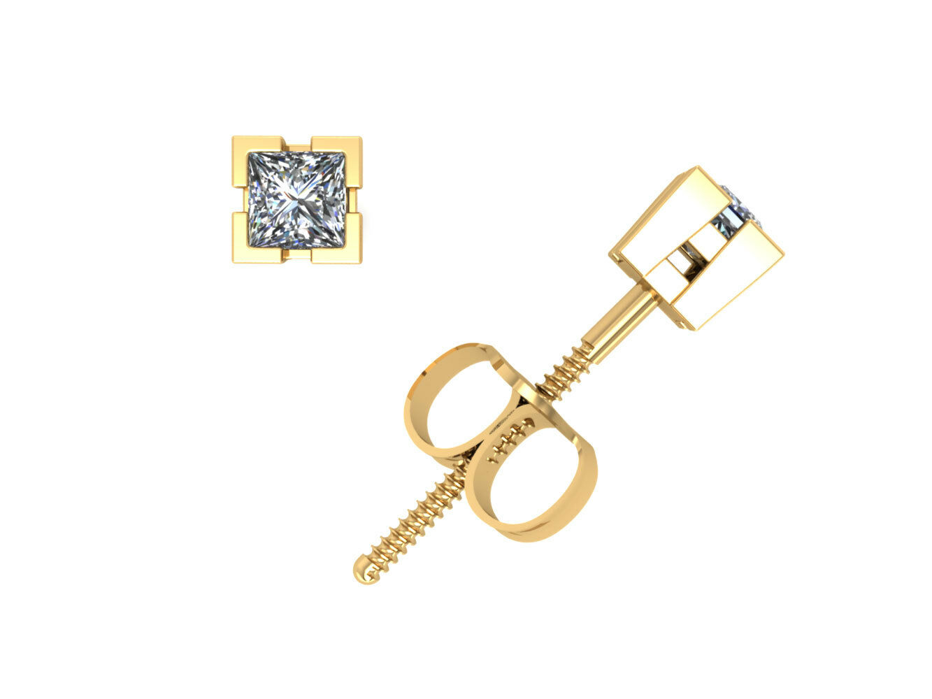 0.15Ct Princess Cut Diamond Basket Stud Earrings 14k Yellow gold V-Prong GH I1