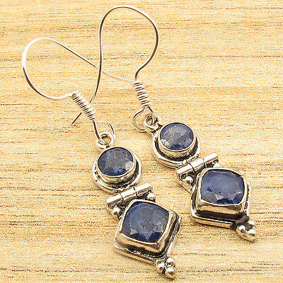 DEAL OF THE DAY ! SAPPHIRE TWO Stone Earrings 1 3/4 inches ! 925 Silver Plated