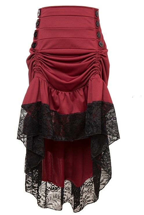 Plus Size Burgundy Red Victorian Burlesque Steampunk High Lo Low Skirt
