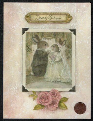 NEW SUSAN WHEELER Holly Pond Hill Greeting Card Rabbits Bride Groom Wedding
