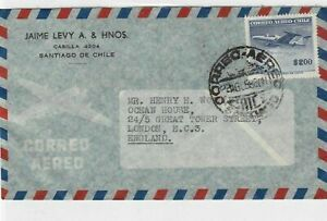 chile 1958 to england airmail  stamps cover ref 13204