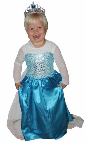 blaues Prinzessin Kostüm mit Schleppe für Mädchen Kleid lang Schleier Gr 86-140
