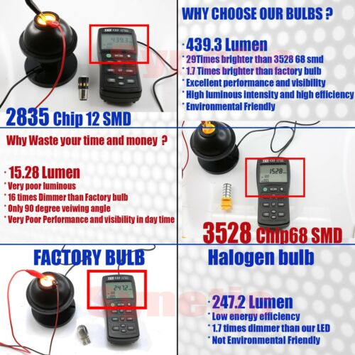 2X 3157 4114 5702A Amber Yellow 12-LED Turn Signal Parking DRL Lamp Light Bulbs