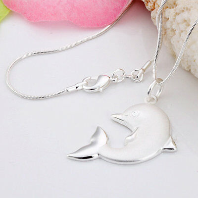 Wholesale solid silver Dolphin Pendant necklace fashion free shipping HN69