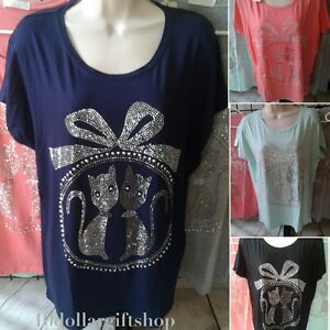 Women-039-s-Casual-T-Shirt-Cat-Print-Jewel-Rhinestone-Blouse-Short-Sleeve-S-M-amp-L-XL