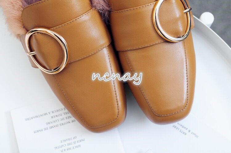 Damen Kaninchenfell Mules Leder Flache Hausschuhe Flache Leder Metal Schuhe Loafers Slipper f6c94a
