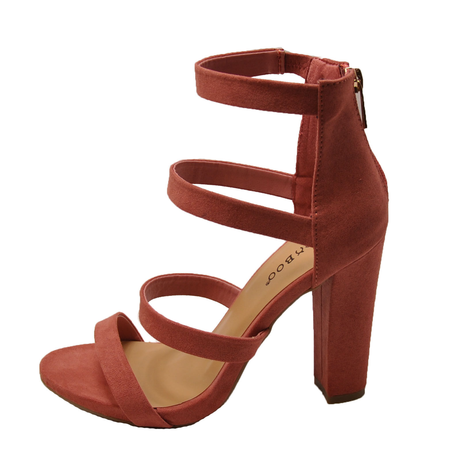 Bamboo Limelight 49M Mauve Women's Strappy Chunky Heel Sandals