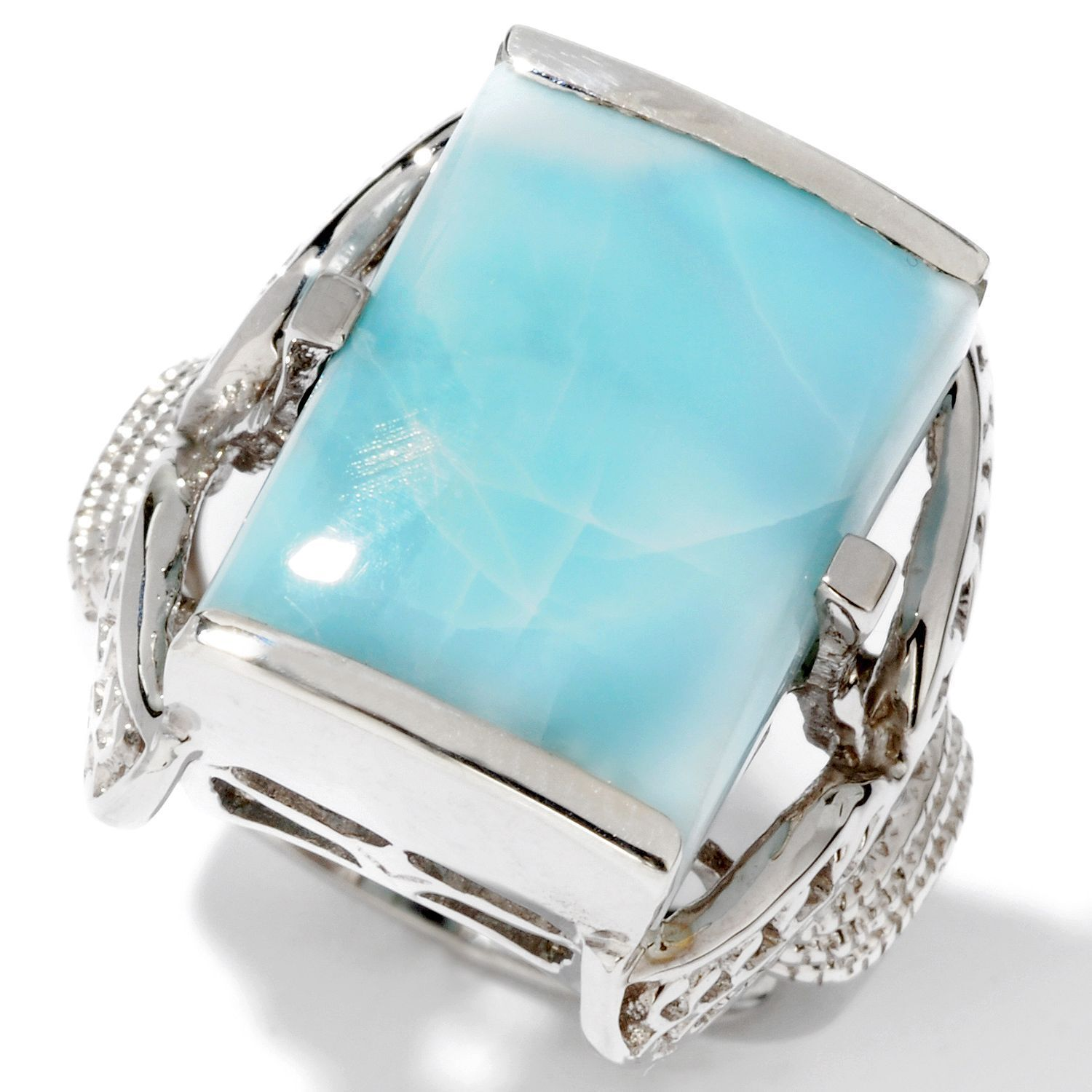 16x12mm Larimar Rectangle Shaped Ring (Different sizes available)