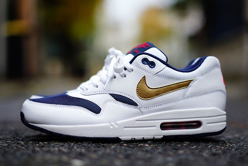 Nike Air Max Max Max 1 QS Olympic Or Blanc Cuir 90 97 Usa Baskets 65079f