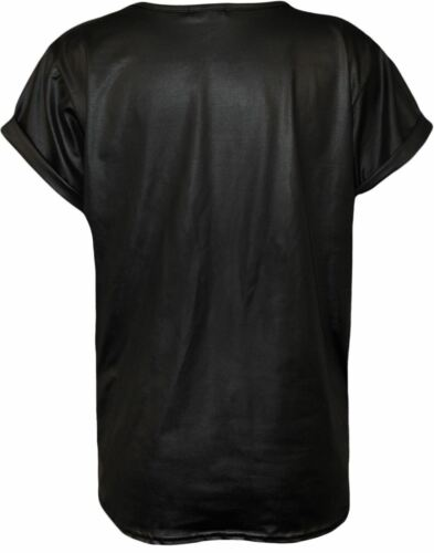 New Women/'s Ladies Turn Up Cap Sleeve Wet Look Faux Leather PVC PU Top Plus Size