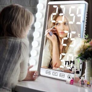 6 Inch LED Mirror Digital Alarm Clock  Humidity Temperature Display USB Output