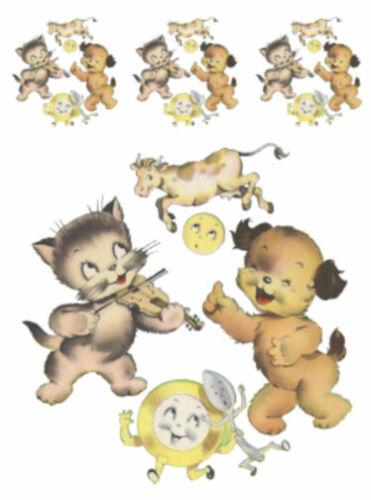Vintage Image Nursery Rhyme Hey Diddle Diddle Transfers Waterslide Decals NUR006