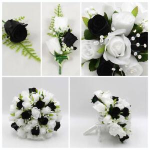 Details About Silk Artificial Wedding Flowers Black White Bouquet Posy Table Decoration