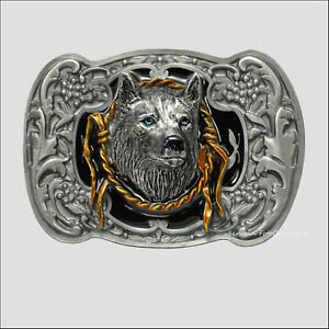 Wolf Ornament Belt Buckle Western Motiv Biker Gürtelschnalle *422