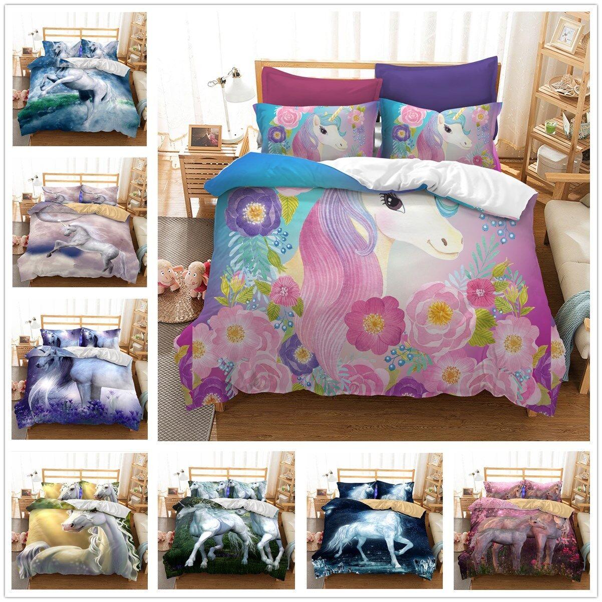 3D Beautiful Unicorn Quilt Cover Bedding Set Horse Duvet Doona Cover Pillow Case