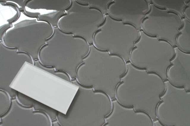 Pebble Grey Arabesque Glass Mosaic Tiles For Kitchen Backsplash Or Bathroom Wall For Sale Online