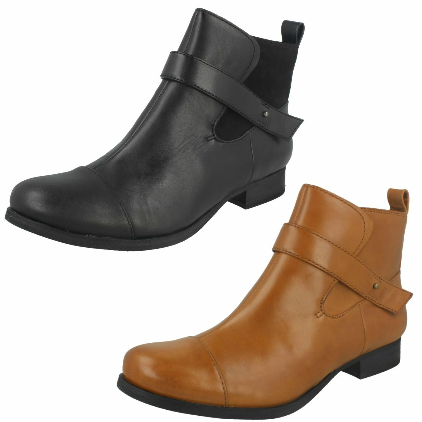 Mujer Cuero Clarks Tobillo boots-ladbroke Mágico 2 colores- Negro & Marrón