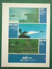 11/1981 PUB EUROMISSILE MISSILE ROLAND ANTI AERIEN HOT MILAN ANTICHAR FRENCH AD