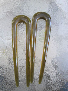 "2ea Shell Brown U Pin 2 Prong Chignon Hair Pins 3 1/4"" Length  NEW MADE IN USA"
