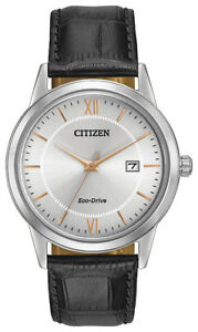 Citizen-Eco-Drive-Men-039-s-Grey-Dial-Rose-Gold-Tone-Markers-40mm-Watch-AW1236-03A